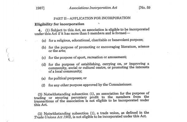 application for incorporation of an association qld