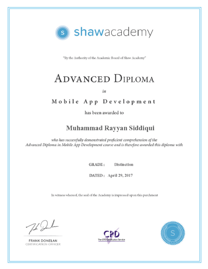 web and application development certificate