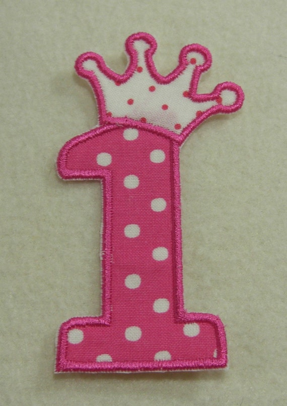 number one with stars and swirls embroidered applique