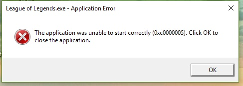 the application was unable to start correctly 0xc0000005 league