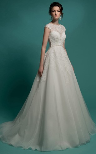 aliexpress lace appliques illusion neck cap sleeves size bridal gowns