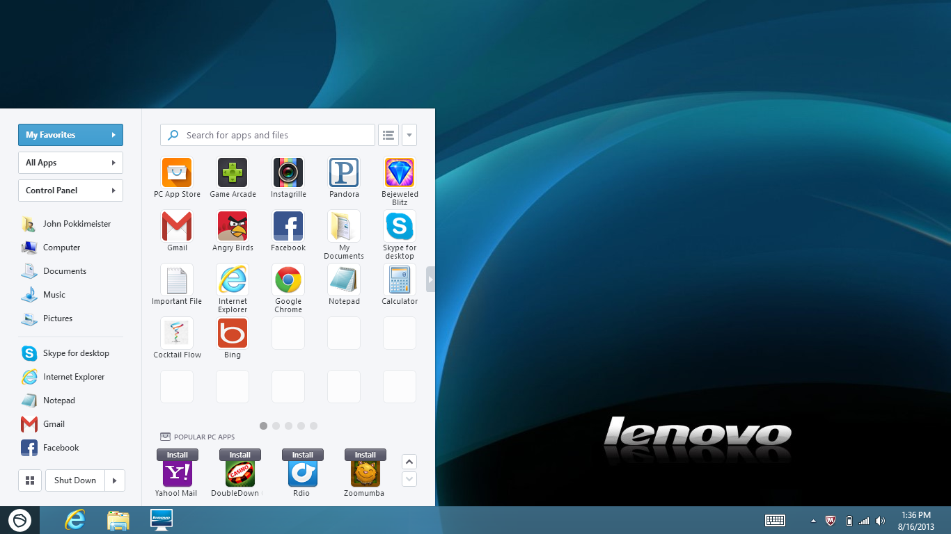 applications in the start up menu