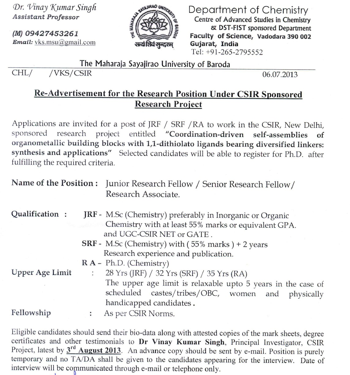 application letter for the post of jrf