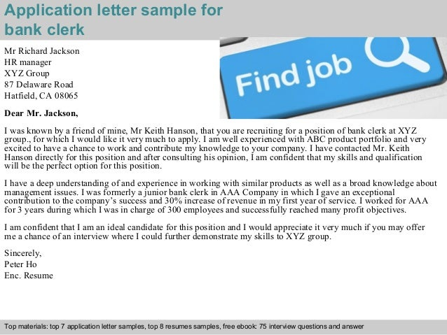 covering letter to bank for any job application