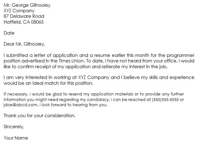 follow up email after job application submitted