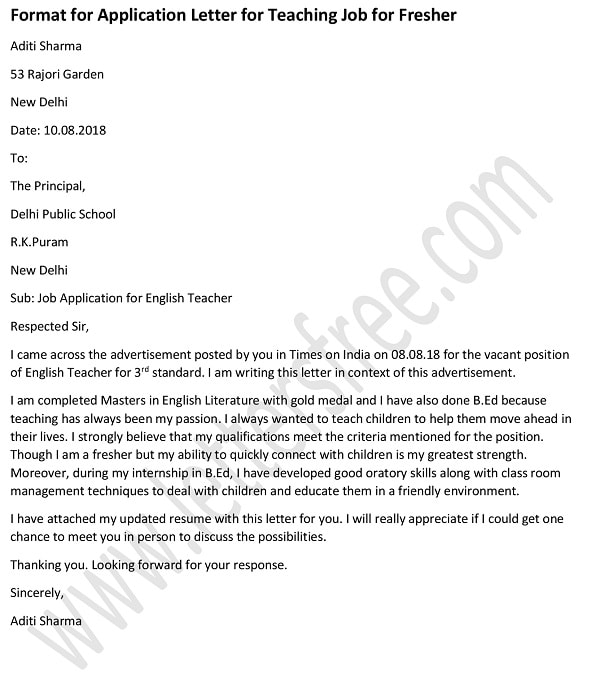 job application letter format in english